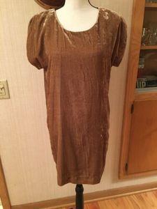 Selected Femme Yellow Gold Velvet Burna Dress  36